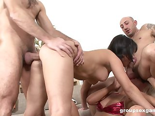 Bitches are being firm fucked in a wild foursome