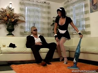 Balls deep anal drilling for natural knockers maid in uniform - Renate