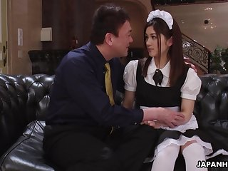 Pretty Asian housekeeper in uniform Anna Kimijima is fucked added to creampied by senior man