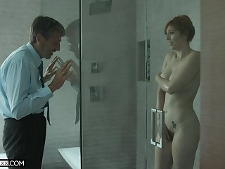 Old creepy man spying on a hot MILF with big titties in the shower