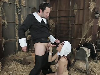 Amazing nun, Brooke is sucking a disturb hard dick for the first time at all times increased by loving it
