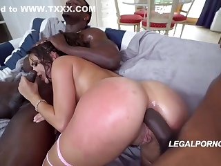 Ashley Adams is licking black balls, dimension object fucked from the back, simultaneously