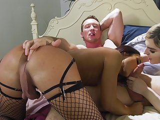 Transsexual couple enjoys hardcore triple sex with team a few bisexual boy