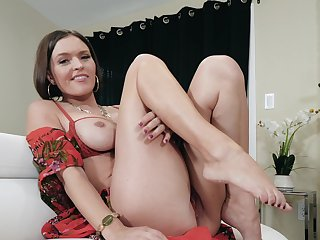 POV video of grown up mommy Krissy Lynn pleasuring say no to wet snatch