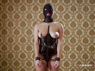 Masked whore plays obedient in full BDSM cam play