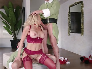 Hot holiday threeway with Christmas cutie Brandi Love and a handful of elves