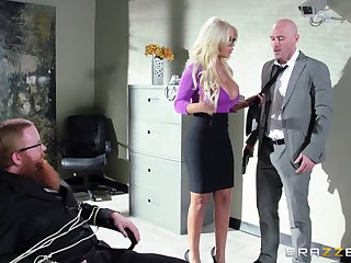 Boss with a huge member persuaded blonde copyist for sex - Bridgette