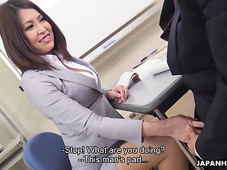 Sexy Japanese teacher allows student to touch her boobies and lick anal chink
