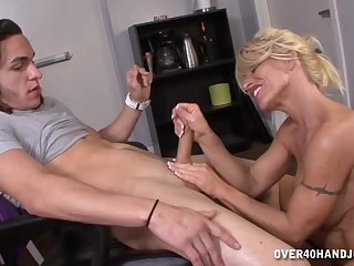 Mommy gives strong handjob in excellent tyro scenes