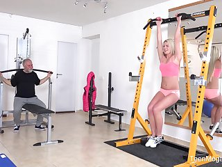 Dirty old dude undressed and fucked adorable blonde Martina D