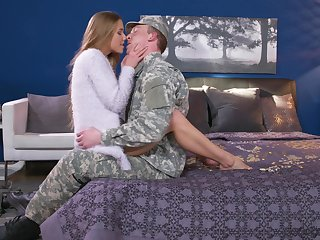 Army boyfriend comes house and gets surprise lovemaking stranger Alexis Crystal