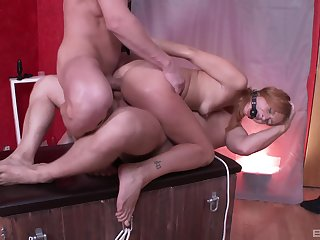 Masters double penetrate a bound haymaker submissive girl