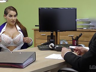 Ample breasted babe Mischel gives a blowjob and gets fucked for conformity