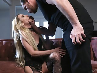 GF to ripped fishnet pantyhose Aiden Ashley gets fucked hard