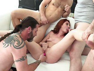 Slutty redhead gang banged with regard to merciless scenes