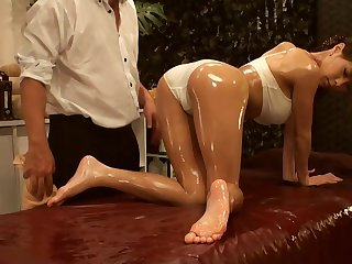 Japanese babe oiled massage fingering and hard enjoyment from