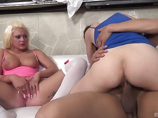 Energized sluts share a black dong in unbelievable moments