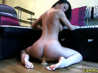 Lovely fit girlfriend masturbating with the addition of riding a dildo